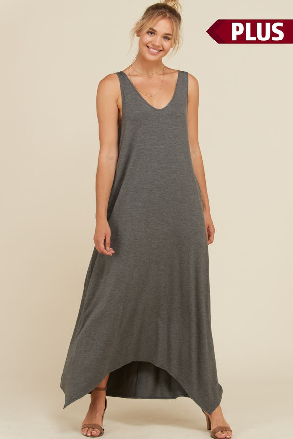 Plus Solid V Neck Tank Maxi Dress - orangeshine.com