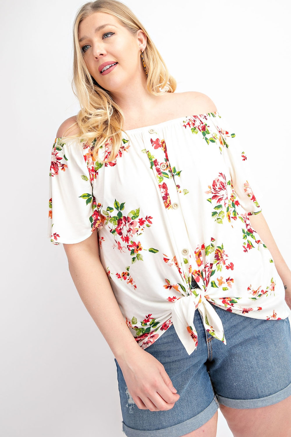 FLORAL PRINT OFF SHOULDER BUTTON DOW - orangeshine.com