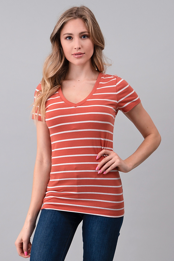 STRIPE V-NECK BASIC TOP - orangeshine.com
