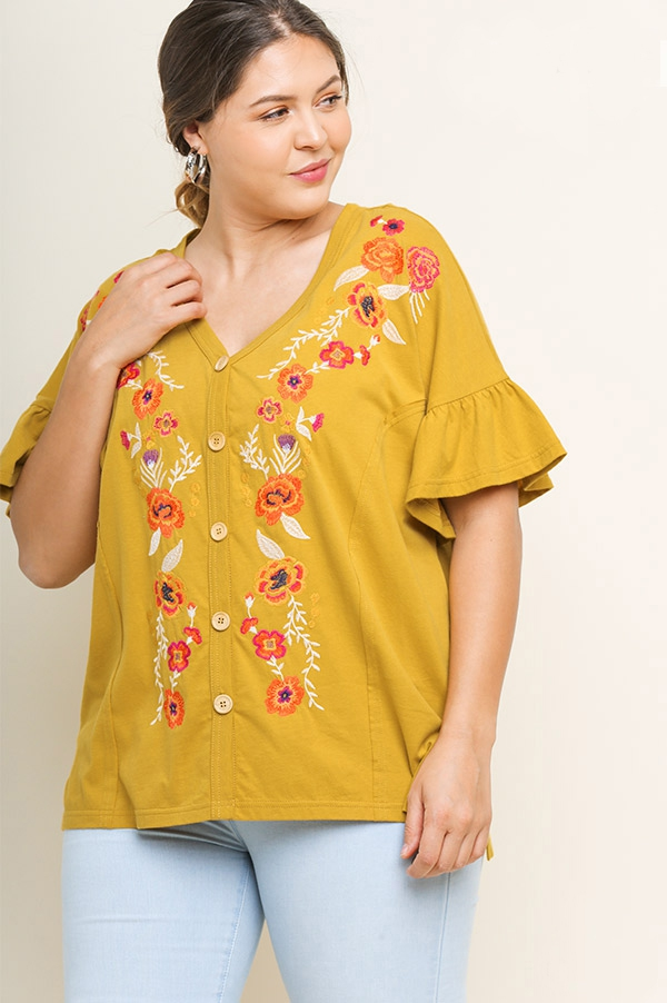 Floral Embroidered Ruffle Top  - orangeshine.com
