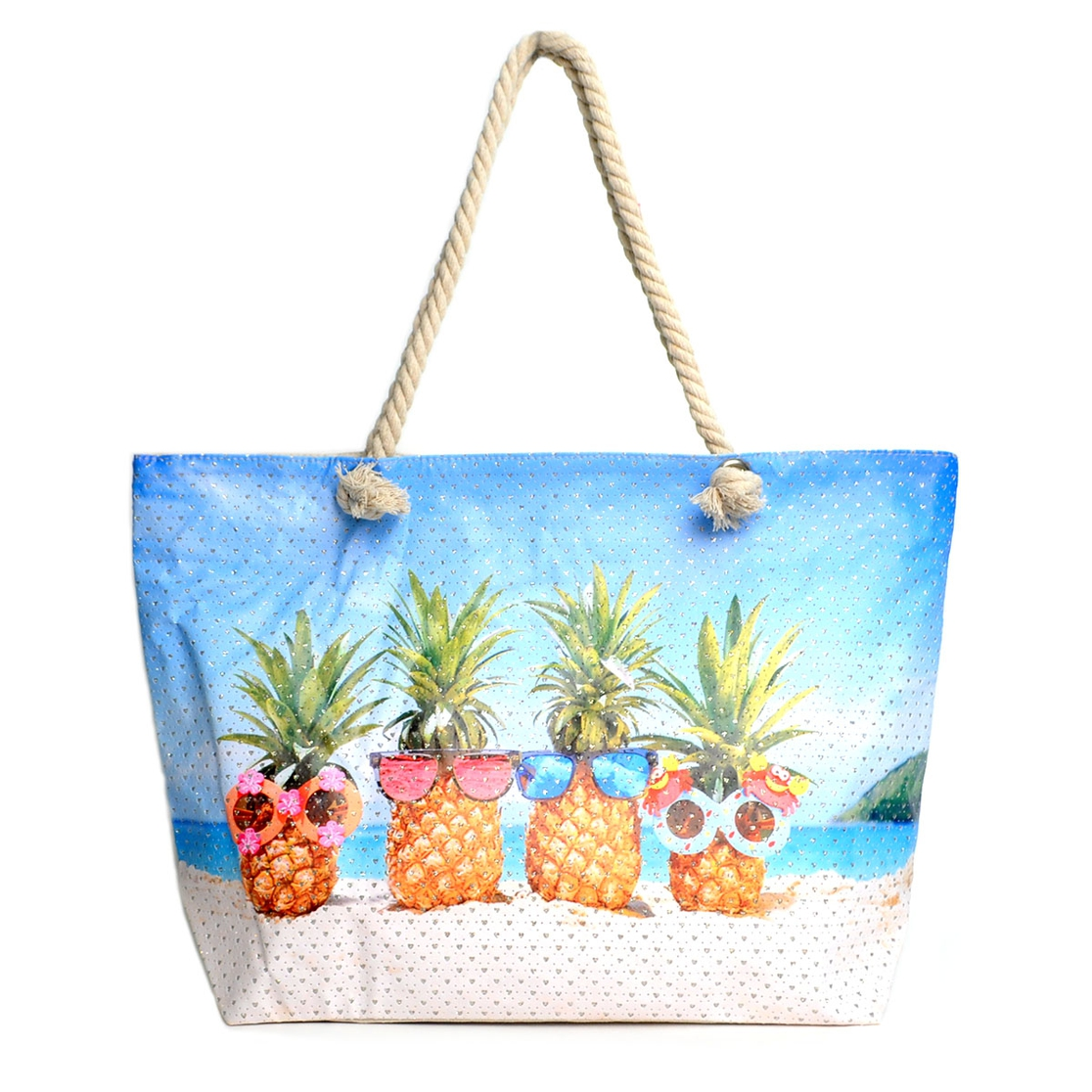 Pineapple Fun Rhinestones Beach Bag - orangeshine.com