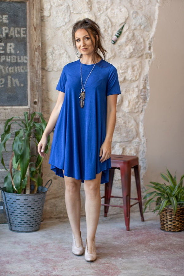 SOLID SHORT SLEEVE FLUTTER DRESS - orangeshine.com