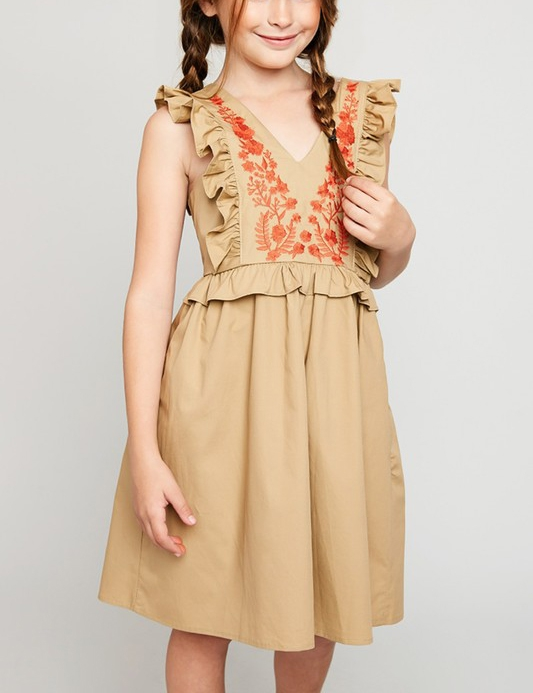 Embroidered Ruffle Baby Doll Dress - orangeshine.com