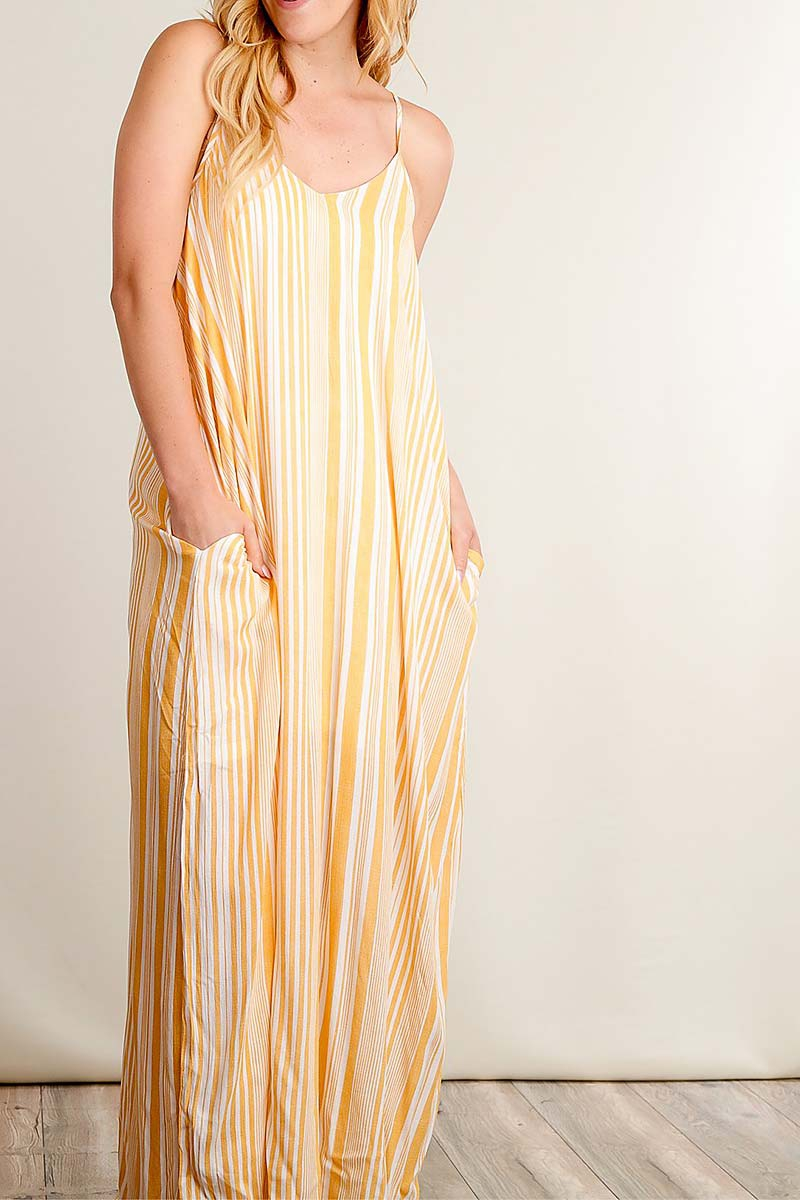 STRIPE POCKETED MAXI DRESS - orangeshine.com