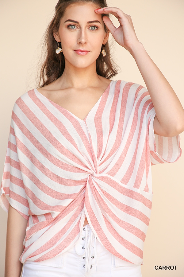 Striped Dolman Sleeve Top  - orangeshine.com