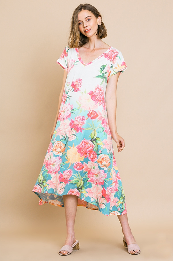 Floral Print Midi Dress - orangeshine.com