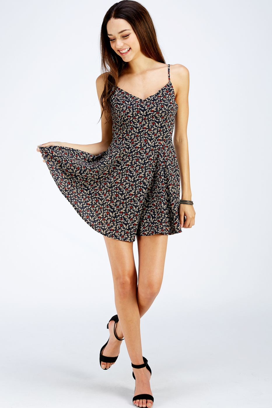 Flower Printed Sun Dress - orangeshine.com