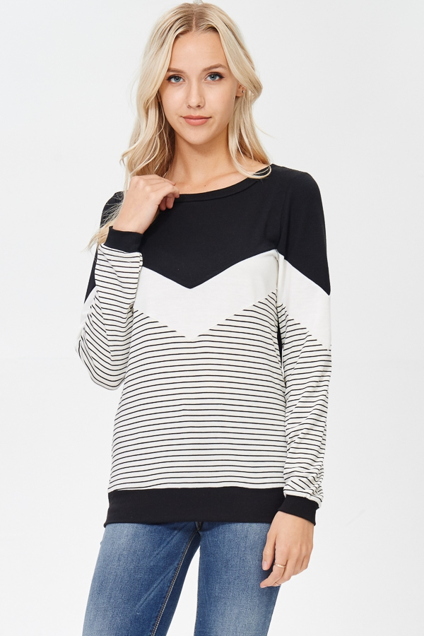 Long Sleeve Solid Zig Zag Stripe Top - orangeshine.com