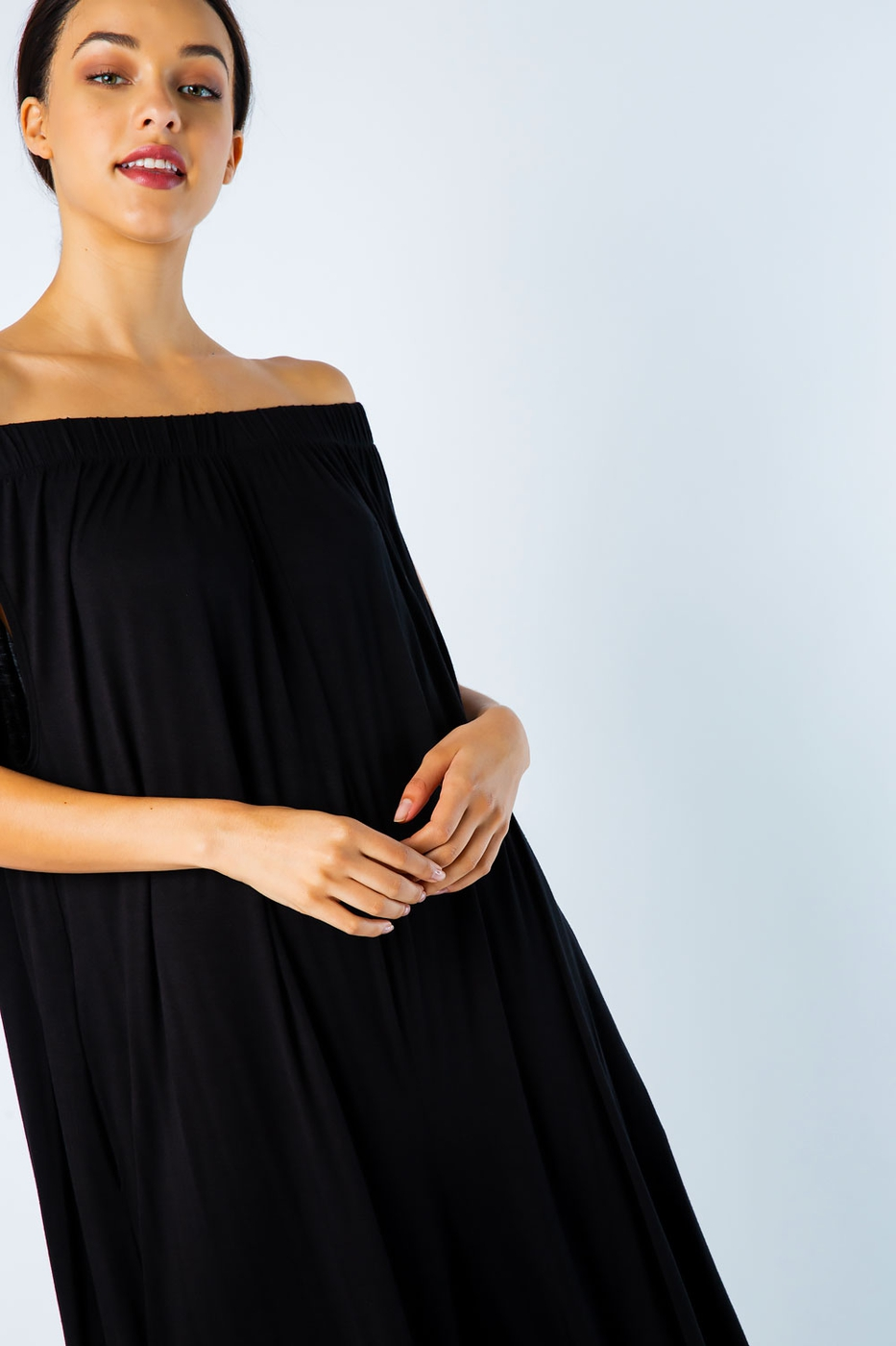 KNIT OFF SHOULDER WIDE LEG JUMPSUIT - orangeshine.com