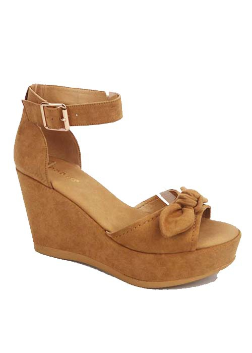 SUEDE PEEP TOE OPEN WEDGE WITH BOW A - orangeshine.com