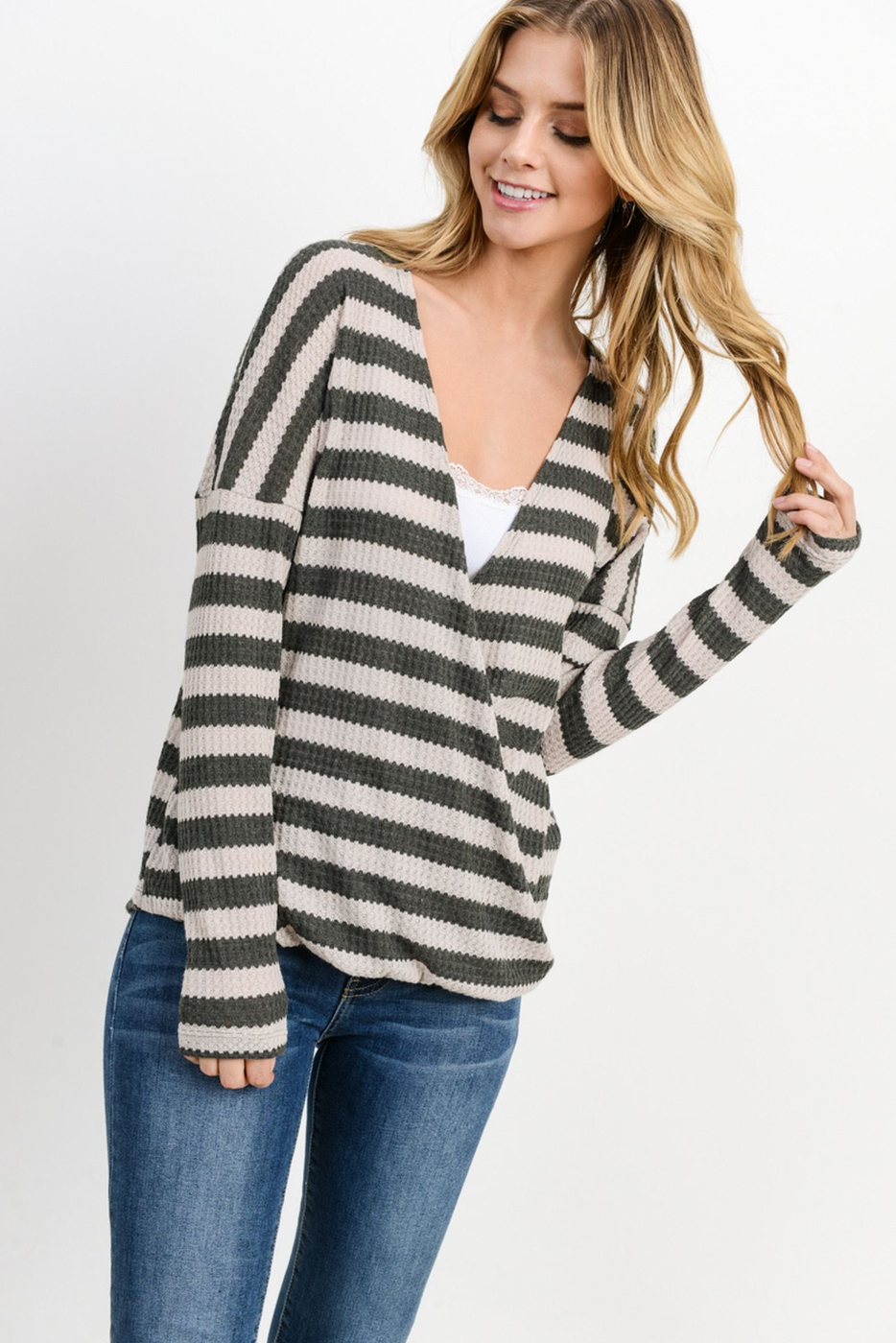 Striped Waffle Surplice Long Sleeves - orangeshine.com