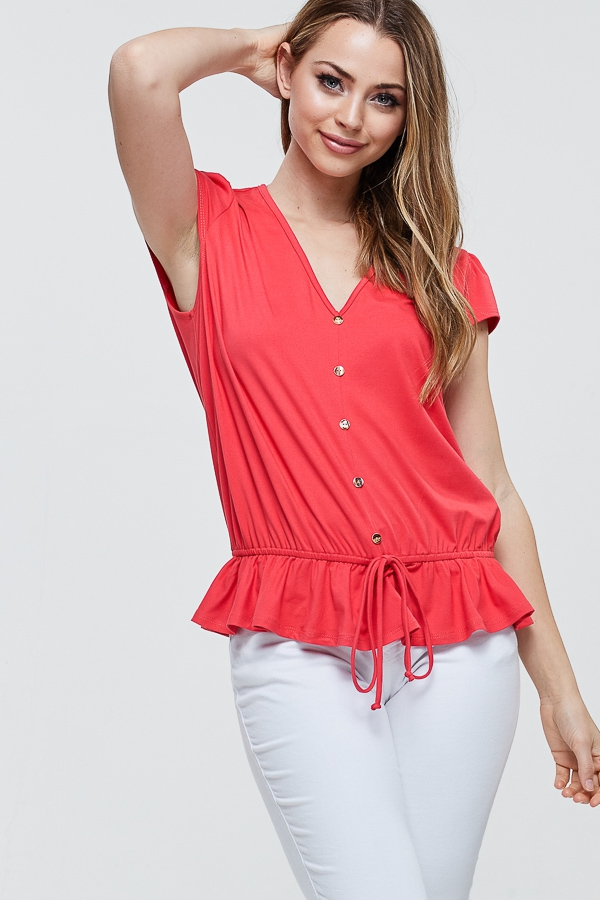 Self Tie Knot Solid Button Down Top - orangeshine.com