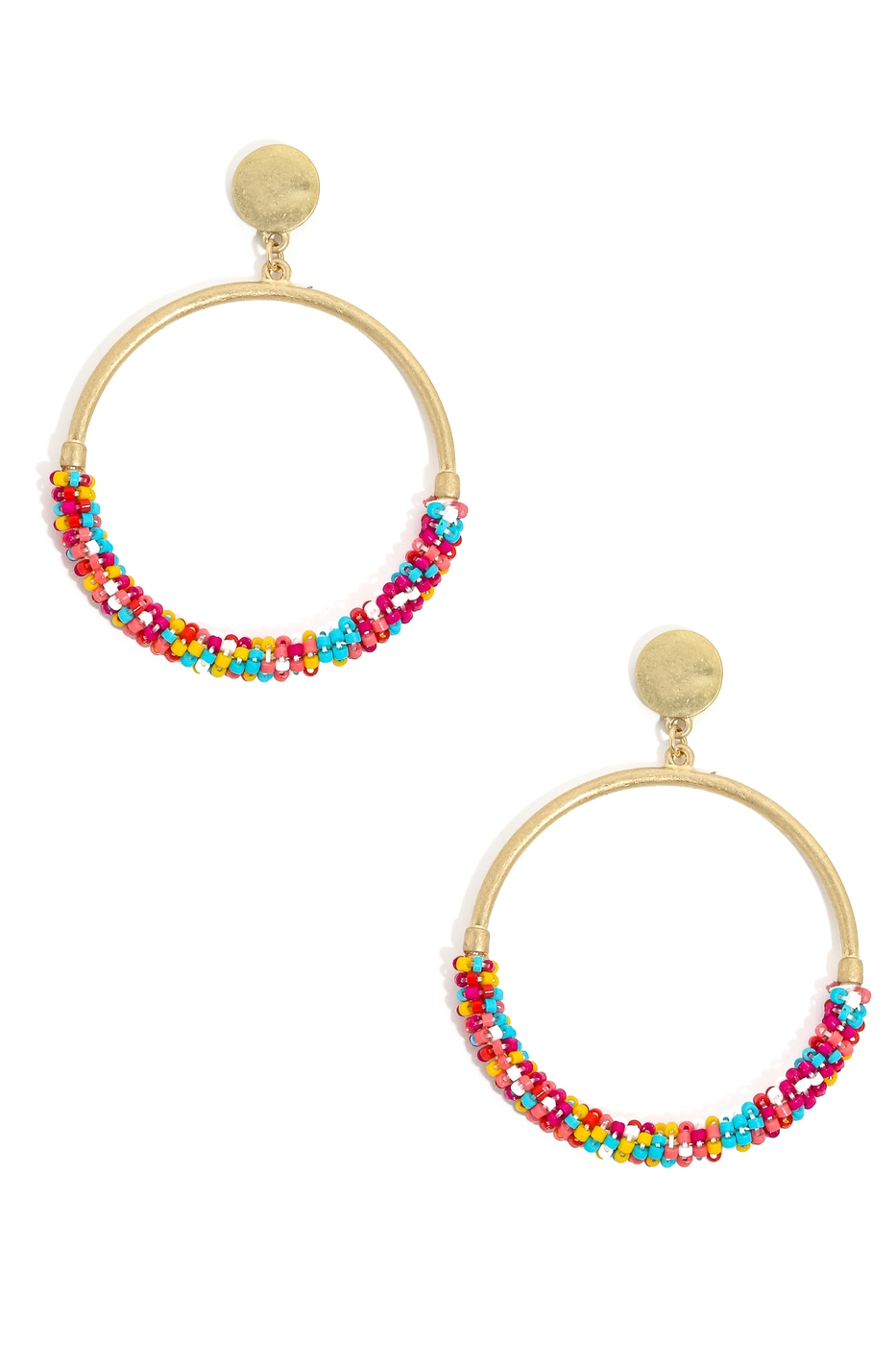 Dainty Beaded Hoop Drop Earrings - orangeshine.com