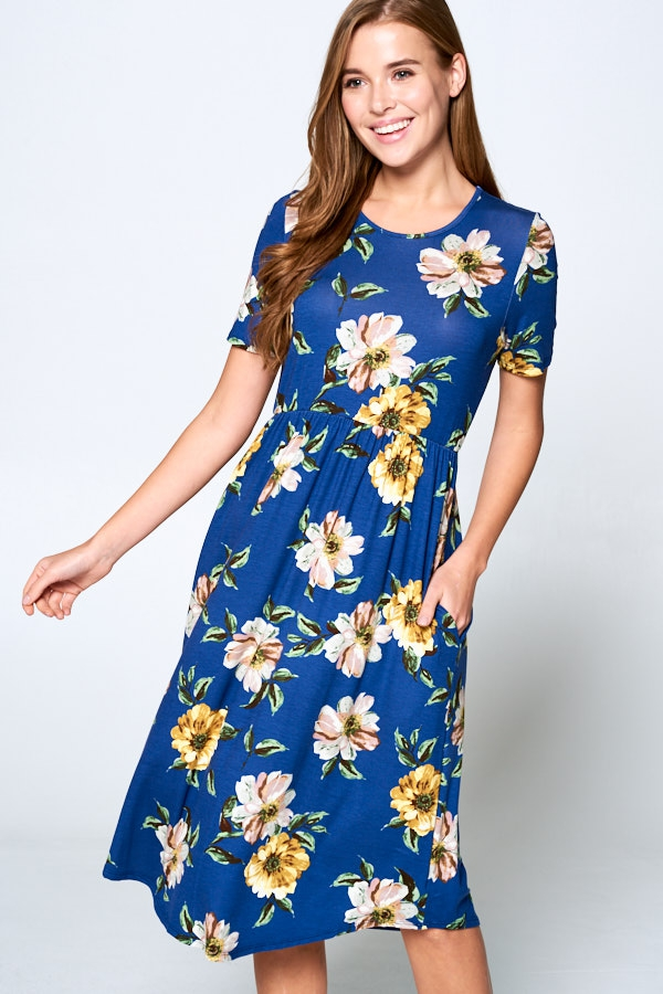Plus Midi Floral Dress - orangeshine.com