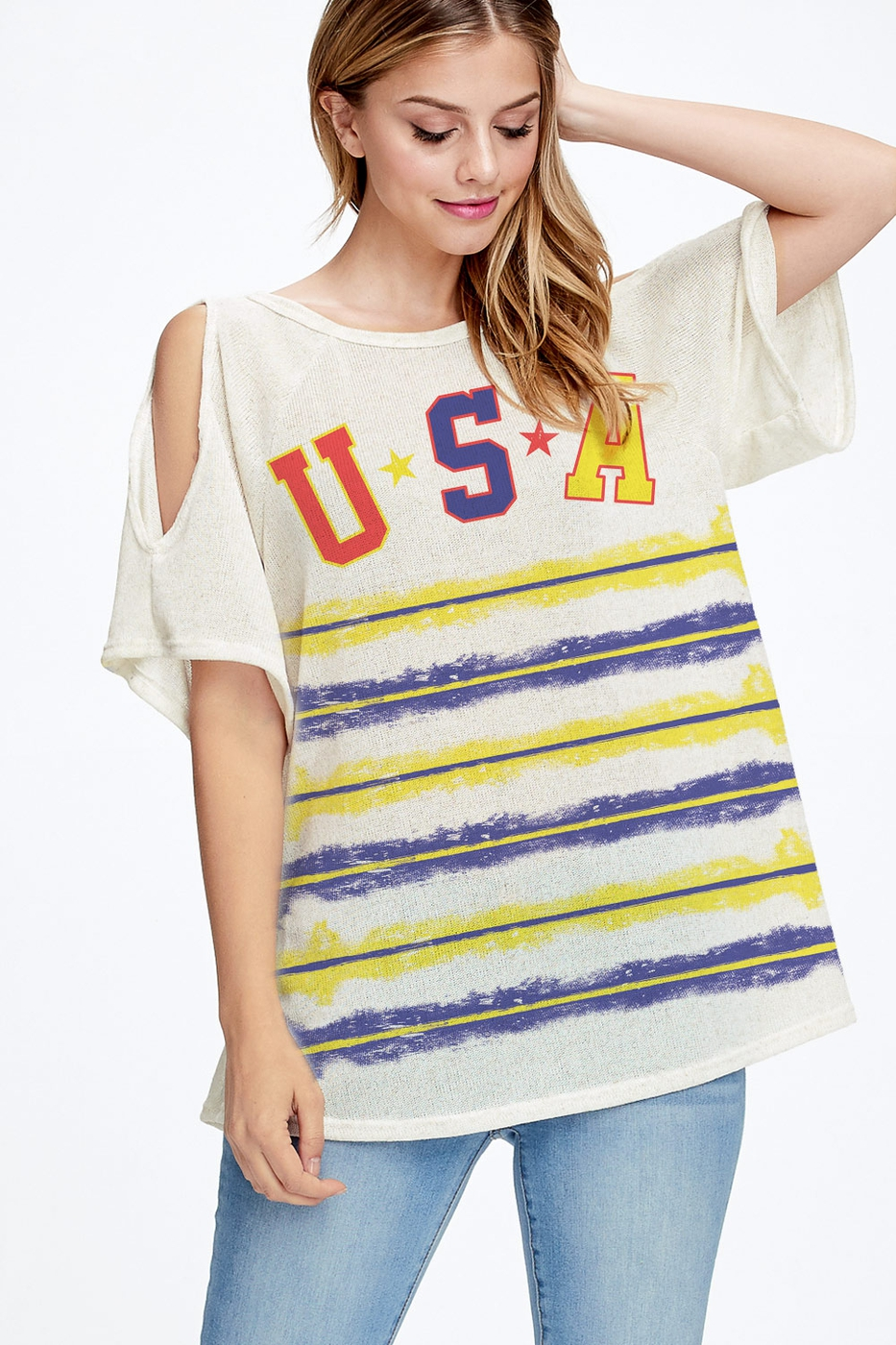USA with border stripe cold shoulder - orangeshine.com