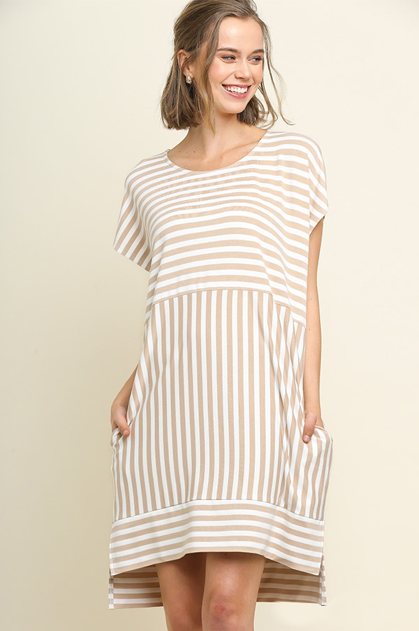 Striped High Low Dress - orangeshine.com