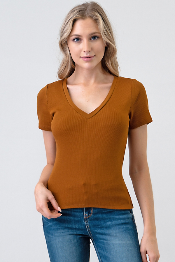 SHORT SLEEVE V-NECK RIB TOP - orangeshine.com