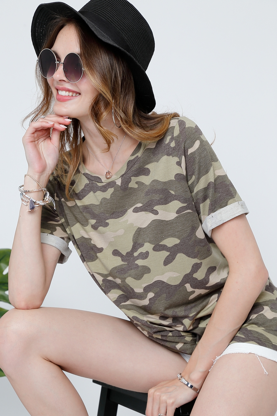 CAMOUFLAGE BASIC TOP WITH MIDDLE CRO - orangeshine.com