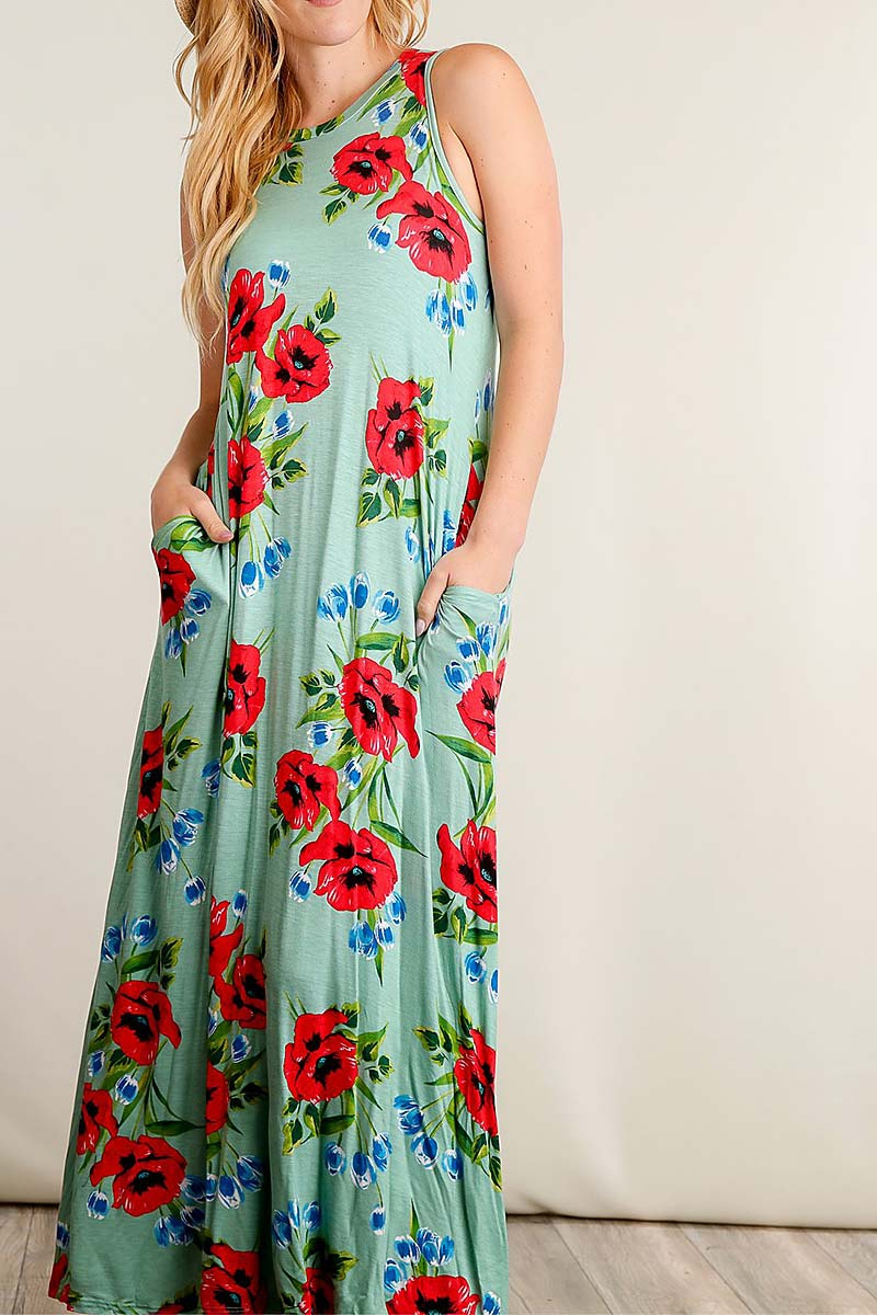 FLORAL PRINT MAXI DRESS - orangeshine.com