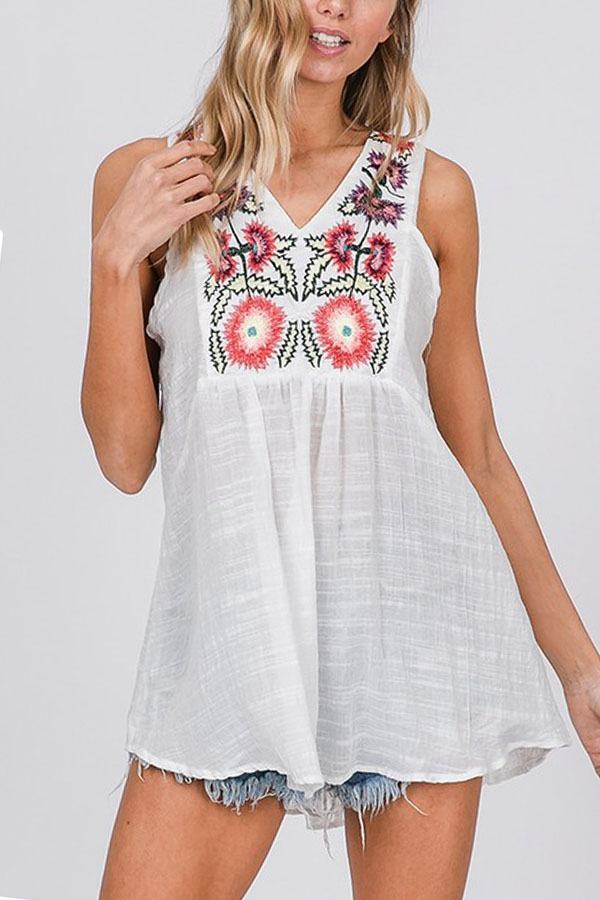 EMBROIDERY SLEEVELESS TOP - orangeshine.com