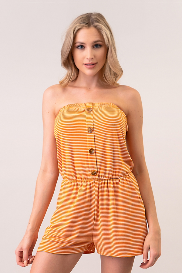 FRONT BUTTON DETAIL STRIPE ROMPER - orangeshine.com