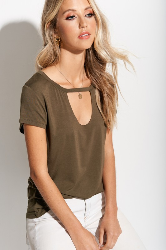 Soft and Stretchy Choker Neck Top - orangeshine.com