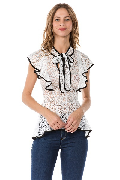 2-TONE RUFFLED TIE NECK BLOUSE - orangeshine.com