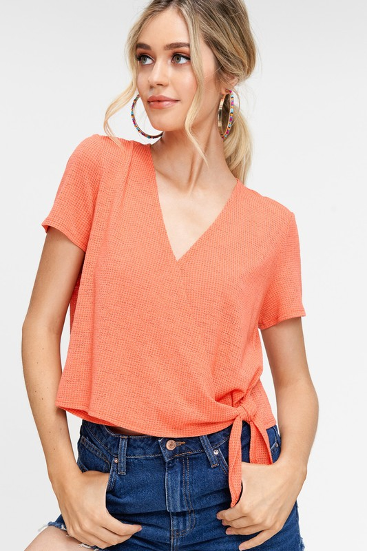 Texture and Fine Knit Wrap Top - orangeshine.com