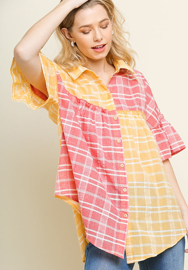 Colorblocked Plaid Collared Top - orangeshine.com