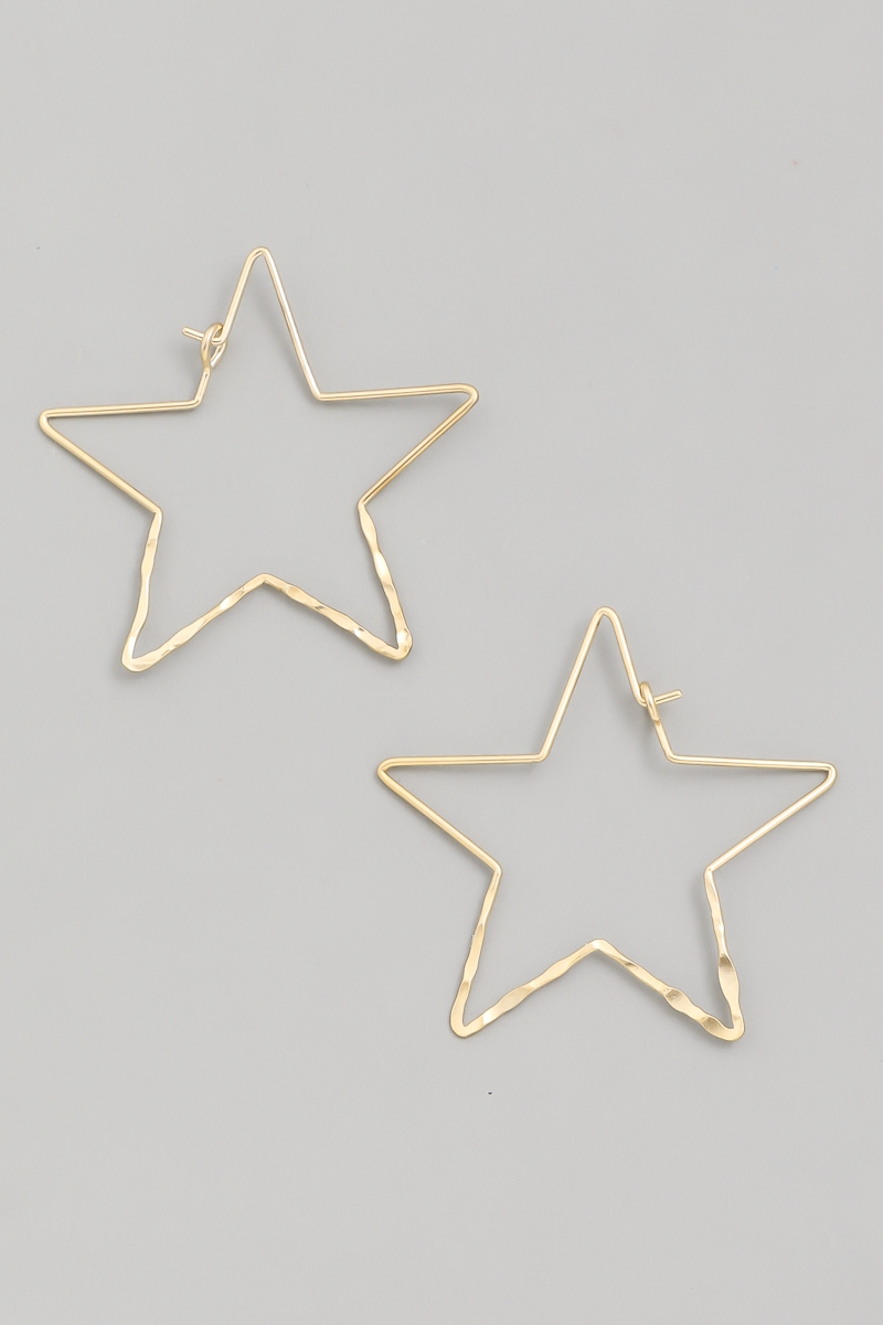 Thin Star Hoop Earrings - orangeshine.com