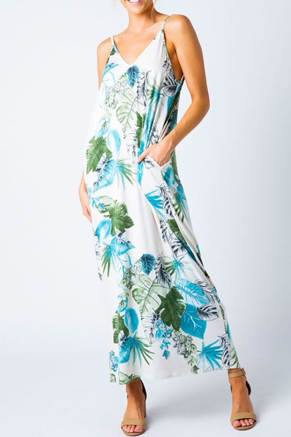 FLORAL PRINT HAREM MAXI DRESS - orangeshine.com
