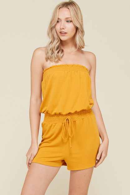 TERRY ROMPER WITH SMOCKING DETAIL - orangeshine.com