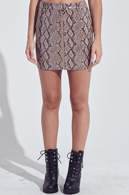 SNAKE PRINT MINI SKIRT - orangeshine.com