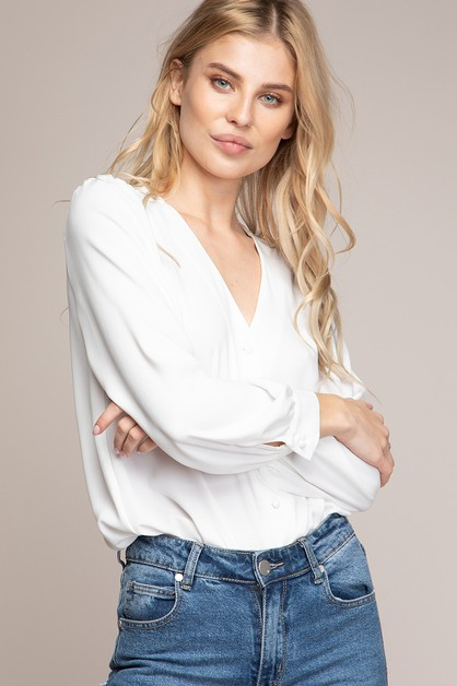 LONG SLEEVE BUTTON DOWN FRONT BLOUSE - orangeshine.com