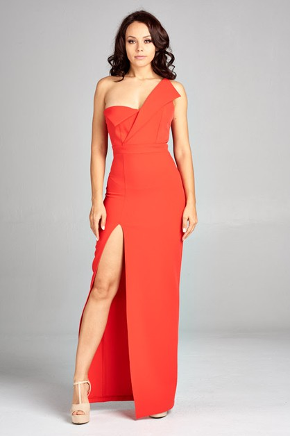 One Shoulder Long Dress - orangeshine.com