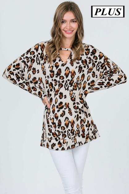LEOPARD PRINT KEY HOLE TUNIC TOP - orangeshine.com