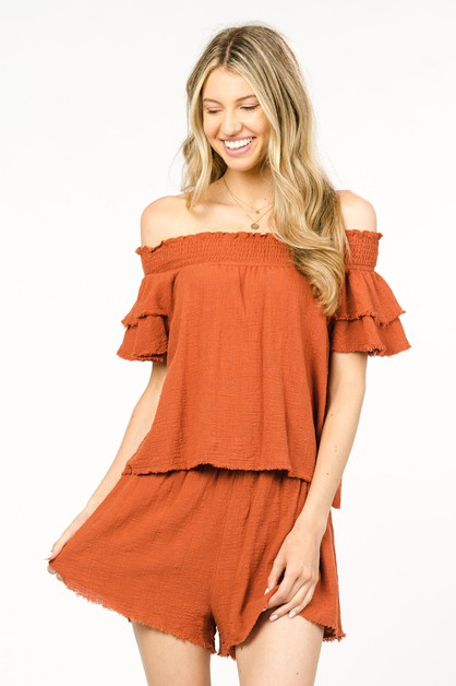 COTTON OFF SHOULDER TOP WITH RAW EDG - orangeshine.com