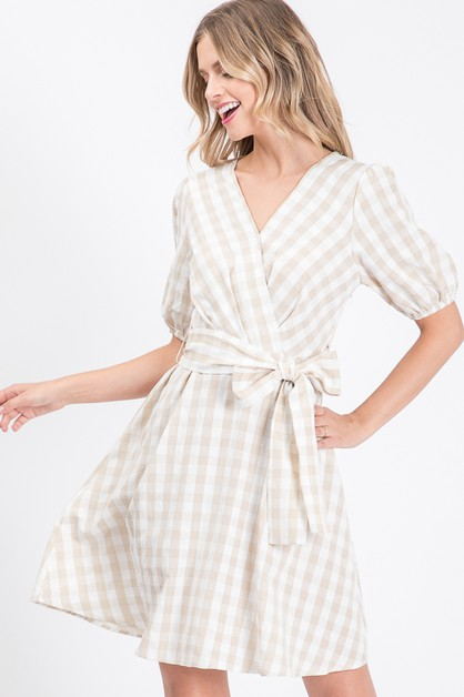CHECKER PRINTED SURPLICE DRESS - orangeshine.com