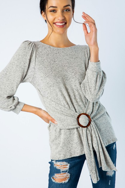 HACCI KNIT TOP WITH GATHERED BUCKLE - orangeshine.com