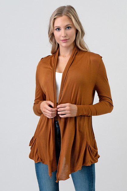 LOOSE POCKET DETAIL CARDIGAN - orangeshine.com