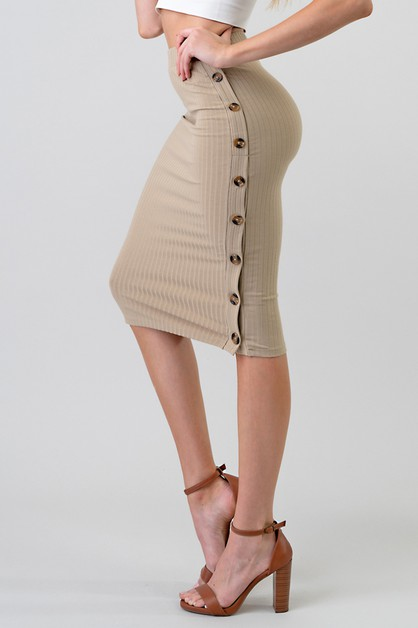 RIBBED MIDI SKIRT WITH SIDE BUTTON - orangeshine.com