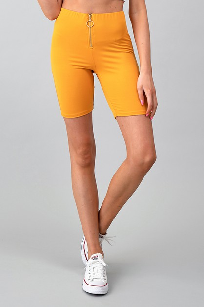 FRONT ZIPPER BIKER SHORTS - orangeshine.com