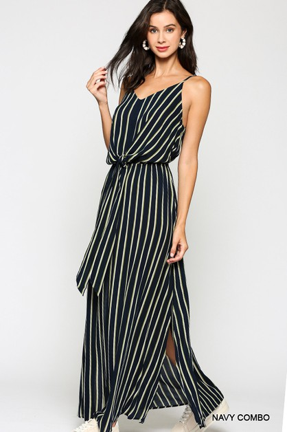 Striped Front Tie Detail Maxi Dress - orangeshine.com