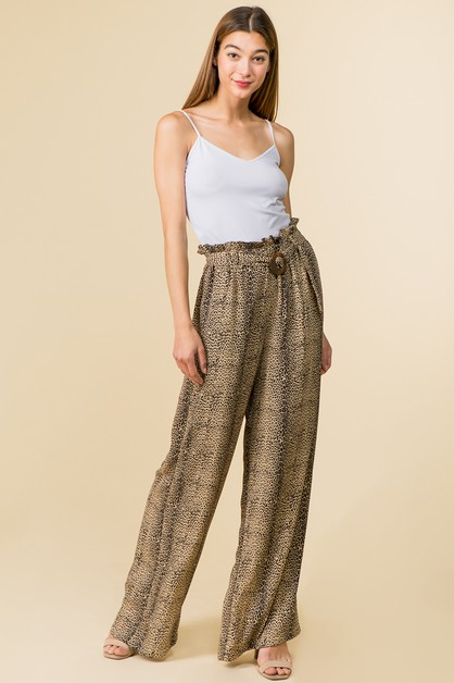 LEOPARD WIDE LEG PANTS - orangeshine.com