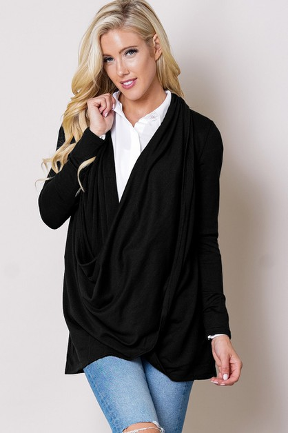TOP LONG SLEEVE DRAPE ALL OVER SOLID - orangeshine.com