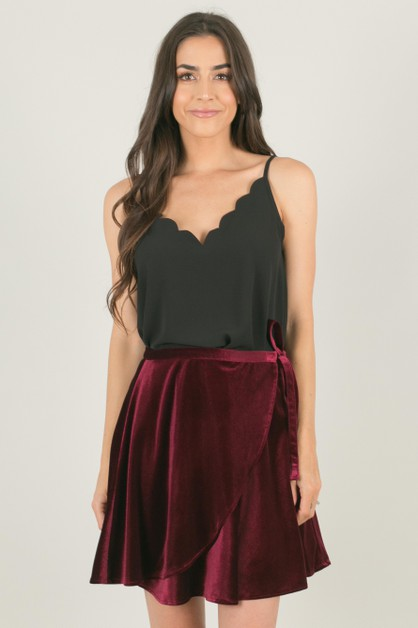 Burgundy Velvet Wrap Skirt - orangeshine.com