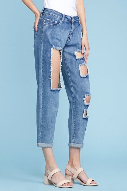 Mid Rise Cutout Ripped Stretch Jeans - orangeshine.com
