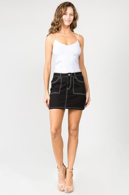 COLOR MINI SKIRT W CONTRAST STITCH - orangeshine.com