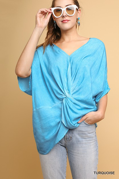 Washed V-Neck Dolman Sleeve Top  - orangeshine.com
