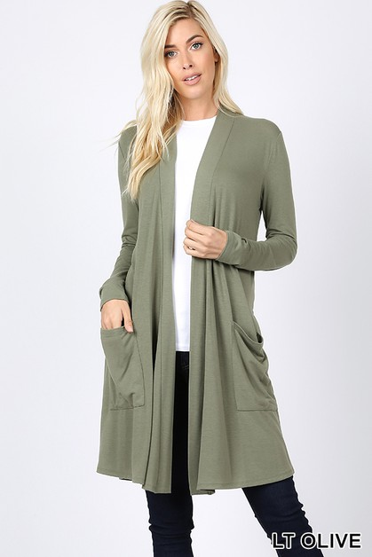 SLOUCHY POCKET OPEN CARDIGAN - orangeshine.com